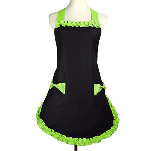 Cute Ideas For Halloween Women (Aspire Cute Retro Vintage Lady's Kitchen Flirty Women's Aprons with Pockets Gift Idea-Black Green-M)