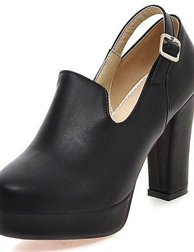 GGX/ Zapatos de mujer-Tacón Robusto-Tacones / Plataforma / Punta Redonda-Tacones-Vestido / Fiesta y Noche-Semicuero-Negro / Rojo / Almendra , black-us7.5 / eu38 / uk5.5 / cn38 , black-us7.5 / eu38 / u almond-us8 / eu39 / uk6 / cn39
