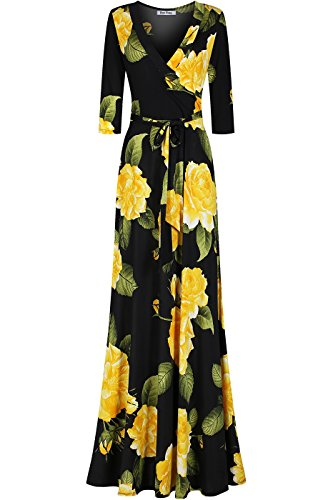 Bon Rosy Women's Silky and Stretchy 3/4 Sleeve Deep V-Neck Floral Printed Maxi Faux Wrap Dress Black M (Top Faux Wrap Sleeve)