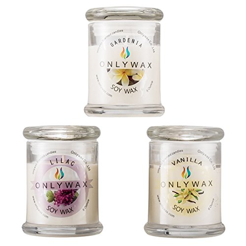 Blossom Soy Candle (Scented Candles Gift Pack 3 x 6-Ounce (Gardenia, Vanilla and lilac Blossoms), 100% Natural Soy Wax Home Aromatherapy Candle in Reusable Glass Jar - Holiday Gifts for Her)