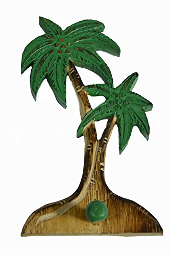 Beautiful Unique Wooden Palm Tree with Hook Hanger Towel Key Holder Tropical Island Wall Art