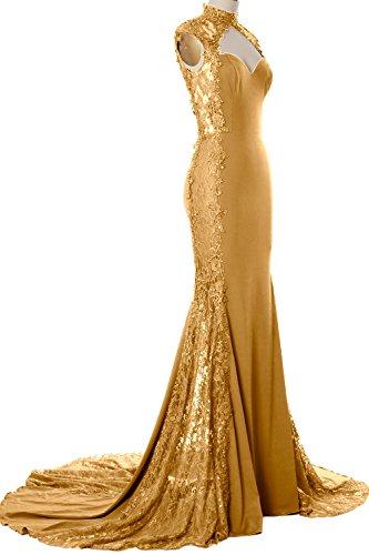 MACloth Women Mermaid High Neck Long Prom Dress Lace Jersey Formal Evening Gown (16w, (Yumi Jersey Dress)