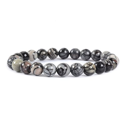 Picasso Bead Bracelet - Natural Picasso Jasper Gemstone 8mm Round Beads Stretch Bracelet 7
