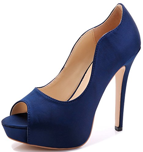 Littleboutique New Peep Toe Satin Wedding Platforms Stiletto Evening Shoes Dress Pumps Bridal Shoes Heels Navy 3