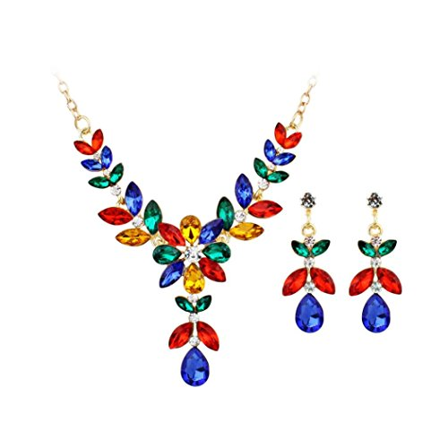 Gyoume Women Girls Necklace Ear Studs Ring Set Gemstone Necklace Flowers Pendant Jewelry Suit (A, Multicolor) ()