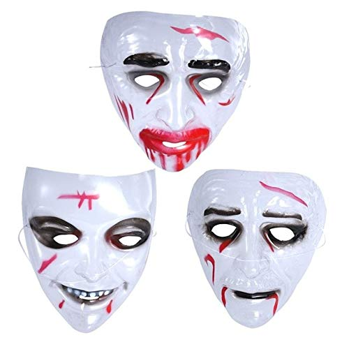 KBWL Party Masks Creepy Latex Mask Shell Hedging Theater Prank Prop Crazy Masks Halloween Party Costume 3 pcs ()