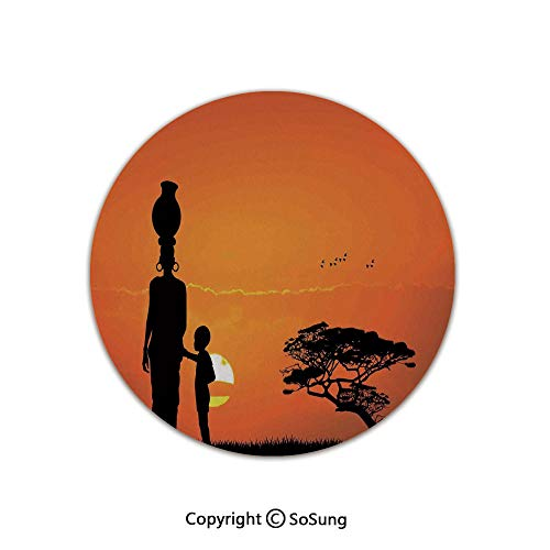 Afro Decor Round Area Rug,Child and Mother at Sunset Walking in Savannah Desert Dawn Kenya Nature Image,for Living Room Bedroom Dining Room,Round 5'x 5',Orange Black