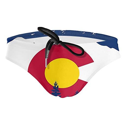 - Mens Swimsuit Colorado Flag Moutain Theme Swimming Trunks Boxer Brief Swimwear Underwear Beach Board Shorts Black
