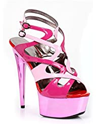Ellie Shoes Guava Metallic Color Blocked Strappy Platform Sandal