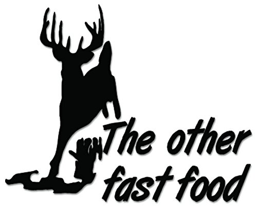 Deer Buck Hunting Other Fast Food Vinyl Decal Sticker For Vehicle Car Truck Window Bumper Wall Decor - [8 inch/20 cm Wide] - Gloss WHITE Color