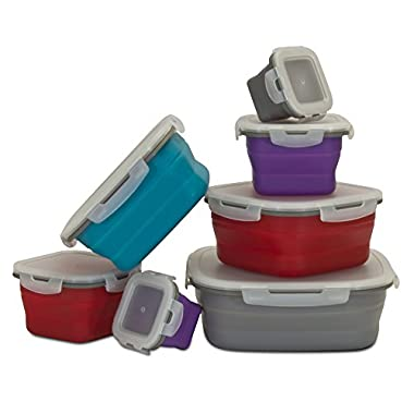 Smart Planet 14-Piece Silicone Collapsible Food Storage Set, Multicolor