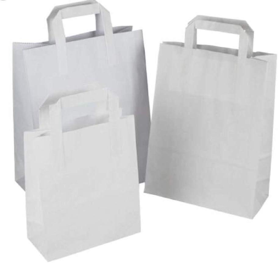 Packitsafe 50SW Lot de 50 petits sacs en papier blanc avec poign/ée SOS