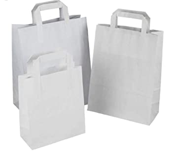 1f1e8255af Packitsafe 50 Medium White Paper Bags SOS Handled. Flat Handled Carrier  Bags, Party Bags, Gift Bags, Takeaway Bags 50SW