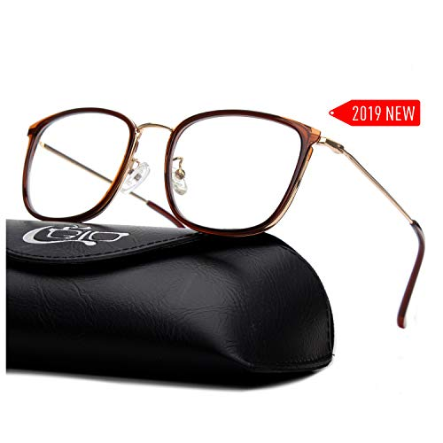 CGID 2019 New Style Fashion Blue Light Blocking Glasses Anti Glare Fatigue Safety Computer Glasses with Premium TR90 Brown Metal Frame Transparent Lens BL941
