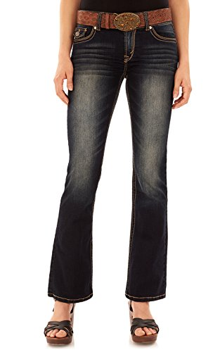 WallFlower Juniors Belted Luscious Curvy Bootcut Jeans in Kat, 9