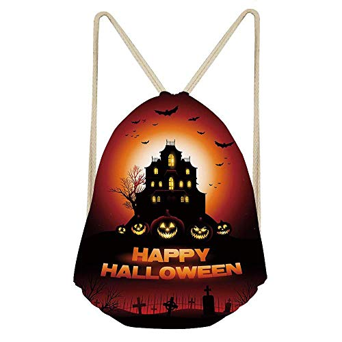 Niomhdos Halloween Happy Halloween Haunted House Flying Bats Scary Looking Pumpkins Cemetery Gym Drawstring Unisex Drawstring Bag Simple Drawing Quick Dry Backpack Bag ()