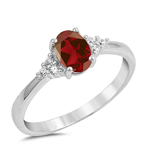 925 Sterling Silver Faceted Natural Genuine Red Garnet Oval Ring Size 5