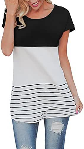 Chvity Women's Back Lace Tops Color Block Short Sleeve T-shirt Tunics Blouse