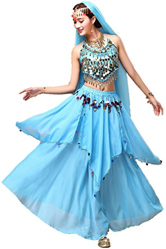 YYCRAFT Women Halloween Halter Top Skirt Costume Set Belly Dance Outfit Aqua
