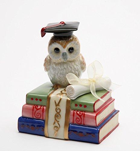 (Cosmos Gifts 80129 Fine Porcelain Graduation Degree of Wisdom Owl in Graduation Cap on Books Music Box Figurine (Music Tune: Over The Rainbow), 4.125