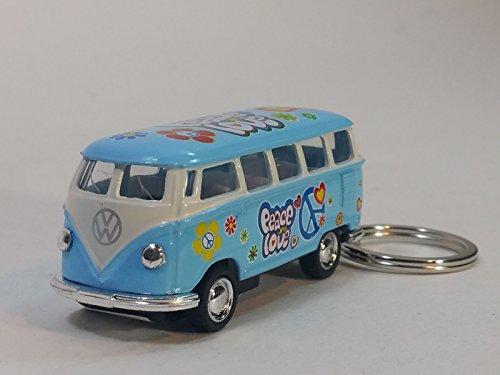 Kinsmart Blue Classic 1962 Love & Peace VW Volkswagen (Hippie) Bus Keychain 1/64 Pastel Color Diecast Car (Vw Bus Hippie)