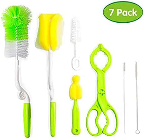 Baby 7pcs/setMilk Bottle Brush Water Cup Cleaning Feeding Bottle Nipple Pacifier Straw Tube Cleaner Brush (Color : Green)