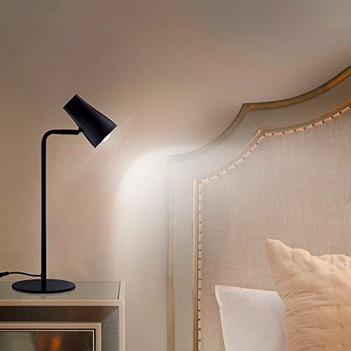 Ominilight LED Desk Lamp, Small Craft Kids Table Lamps, Adjustable Black Metal Reading Lamp, Modern Nightstand Light for Bedroom/Study/Kids/Dorm/Office, Back to School