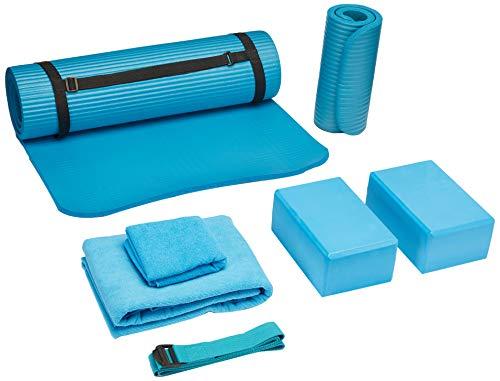 BalanceFrom GoYoga 7-Piece Set - Include Yoga Mat with Carrying Strap, 2 Yoga Blocks, Yoga Mat Towel, Yoga Hand Towel, Yoga Strap and Yoga Knee Pad (Blue, 1/2