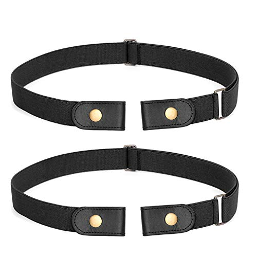 2 Pack No Buckle Stretch Belt For Women Men Elastic Waist Belt Up to 72 Inch for Jeans Pants,Black,Pants Size 24-31 Inches