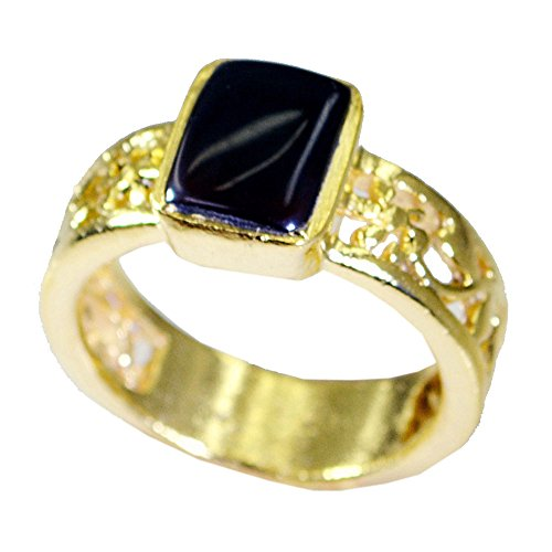 old Plated Ring Rectangle Shape For Gift Cabochon Cut Bezel Size 5,6,7,8,9,10,11,12 ()