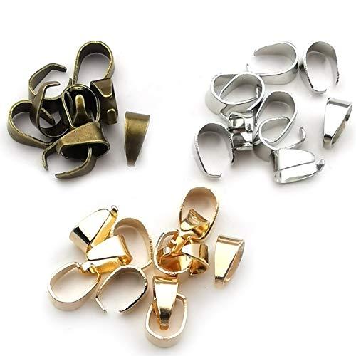300pcs Mixed Metal Pinch Clip Clasp Bail Finish Necklace Clasps Pendant Clasps Claw Bail,Pendant Clasps, Pinch Clip Clasp Bail for Necklace M148 (Mixed)