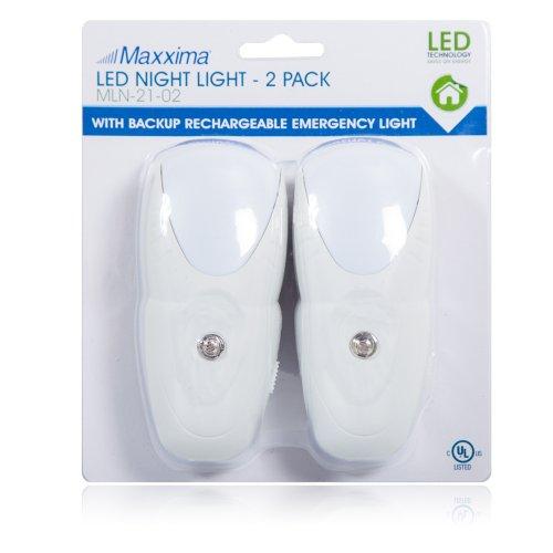 Maxxima MLN-21 LED Night Light, Emergency Light, Flashlight (Pack of 2)