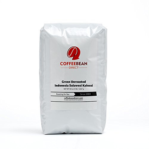 Green Unroasted Indonesia Sulawesi Kalossi, Whole Bean Coffee, 5-Pound Bag
