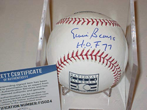 Ernie Banks Autographed Signed Official Hall Of Fame MLB Baseball with Beckett Coa & Inscrip - Certified Signature ()