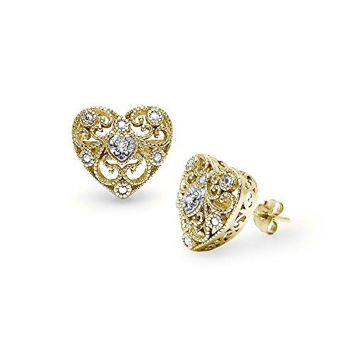 Yellow Gold Flashed Sterling Silver Heart Filigree Diamond Accent Stud Earrings, IJ-I3