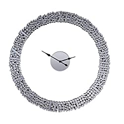 39 in. Dia. Wall Clock in Mirror and Faux Gems