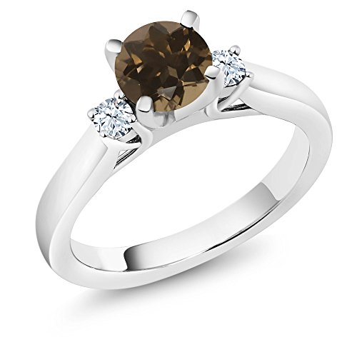 Green Quartz Enhancer (1.06Ct Brown Smoky Quartz White Created Sapphire 925 Sterling Silver 3Stone Ring)