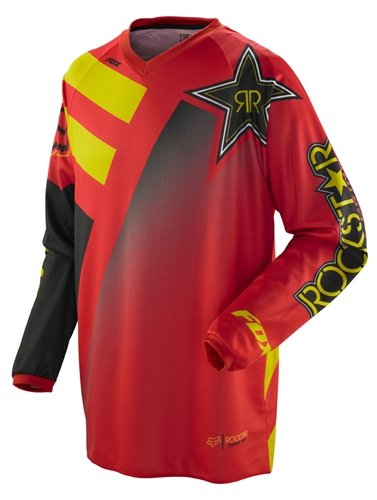 Rockstar Energy Drink Officially Licensed Fox HC Youth Boys Motocross/Off-Road/Dirt Bike Motorcycle Jersey - Red / Small