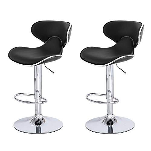 DecentHome Black Cushioned Leather 360 Degree Swivel Curved Back Adjustable Barstool Chairs with Chrome Finished Pedestal Base Set of 2