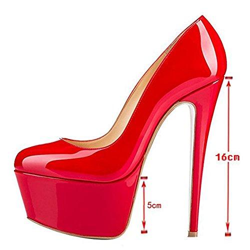 Alleen Maker Dames Open Teen Plateau Stiletto Hoge Hak Pompen Partij Trouwschoenen Slip Rode Verf