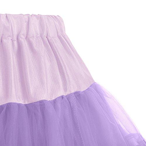 IVNIS RS90010 Women's Petticoat Tutu Skirt 2 Layered Ballet Dance Pettiskirt Mini Skirt Lavender S by IVNIS (Image #5)