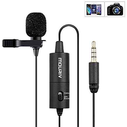 Mouriv CM201 Professional Lavalier Lapel Microphone  Omnidirectional Mic with Easy Clip On System  Perfect for Recording Youtube/Interview/Video Conference/Podcast/Voice Dictation/iPhone by Mouriv