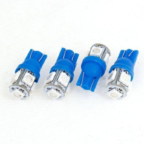 DealMux 4 Pcs T10 194 168 W5W Azul 5050 5-SMD cauda Lmpadas LED 12V para carro