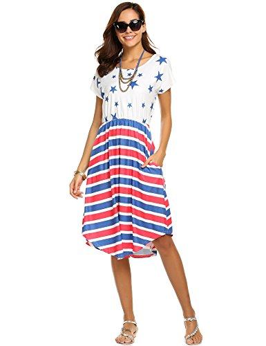 Summer Stripe Halife Women's Beach Loose Star Dress 1 Waist Midi Casual Elastic xw7Aq5TZ7t
