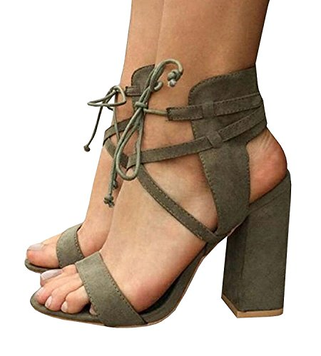 Womens Chunky Ankle Strappy Sandals Lace up High Heels Party Simple Classic Shoes Army Green 9.5 US by ThusFar
