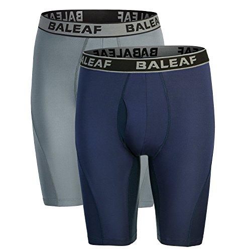Baleaf Men's 9' Sport Boxer Briefs Performance Underwear Navy Size XXL(2-Pack)
