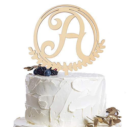 Letter A Personalized Initial Wood Cake Topper Monogram Wedding Anniversary Birthday Vow Reveal Party Decoration Supplies.]()
