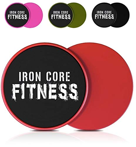 Iron Core Fitness 2 x Dual Sided Core Sliders Ultimate Core Trainer | Gym, Home Abdominal & Total Body Workout Equipment | for use on All Surfaces (Red)