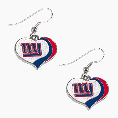 Earrings Giants York New - aminco NFL New York Giants Women's Sports Team Logo Swirl Heart Glitter Earring Set, One Size, Multicolor