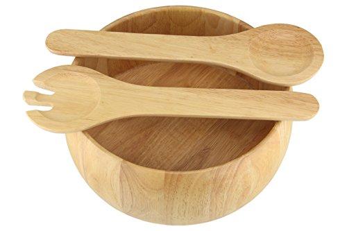 (Apollo Housewares 31 x 27 cm Rubber Wood Salad Bowl and Servers, Natural)